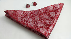 red floral pocket hanky & cufflinks