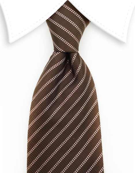 brown and pink striped tie