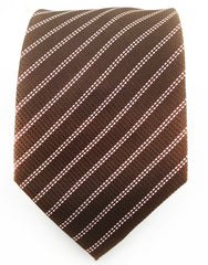 Brown tie with pink pinstripes