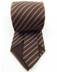 back view of brown and pink striped necktie