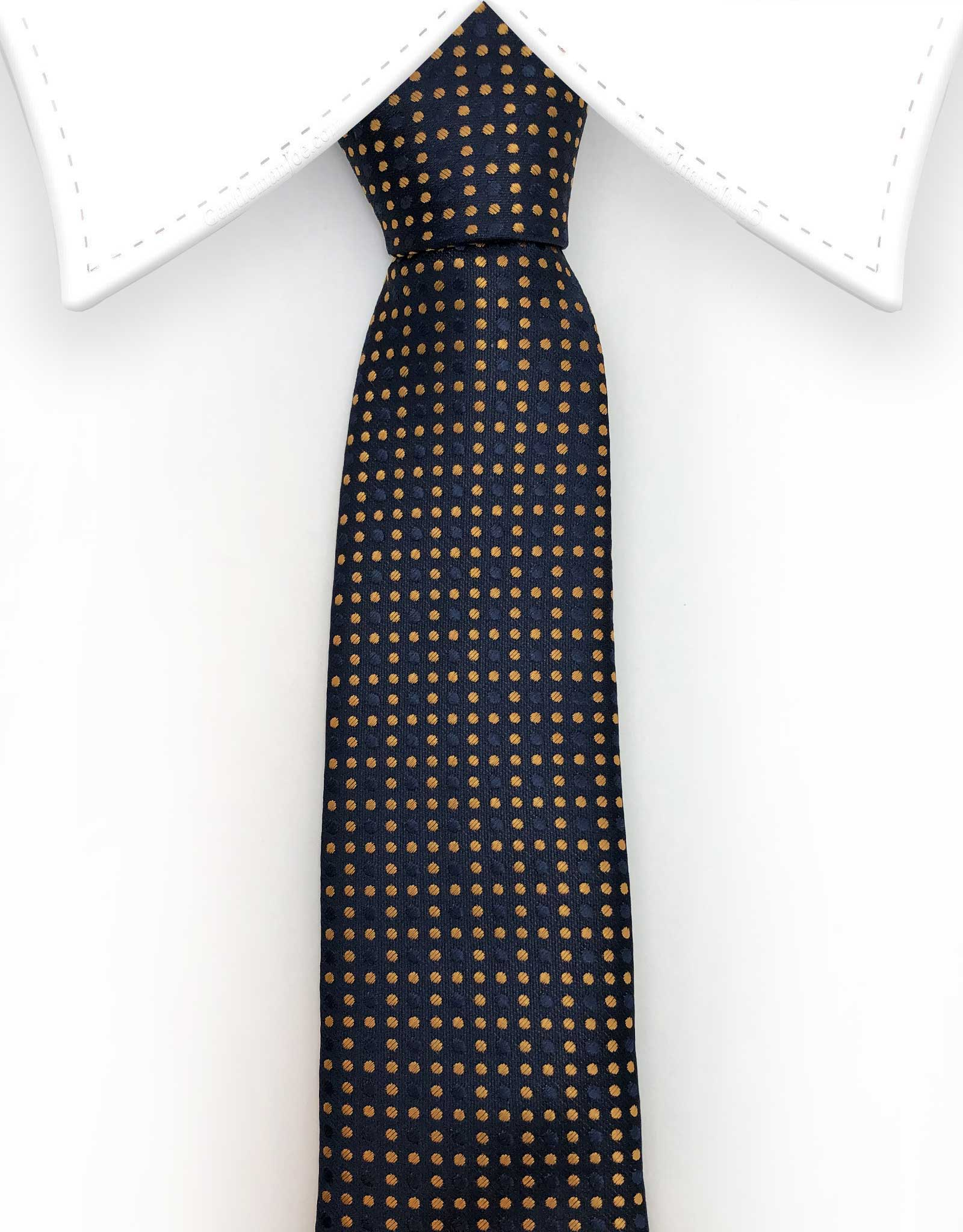 Silk Navy Blue Tie with Orange Dots