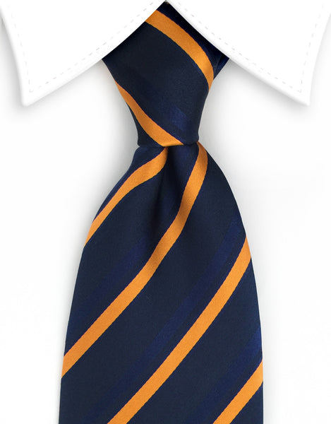 Navy and Orange Striped Extra Long Ties - 3XL