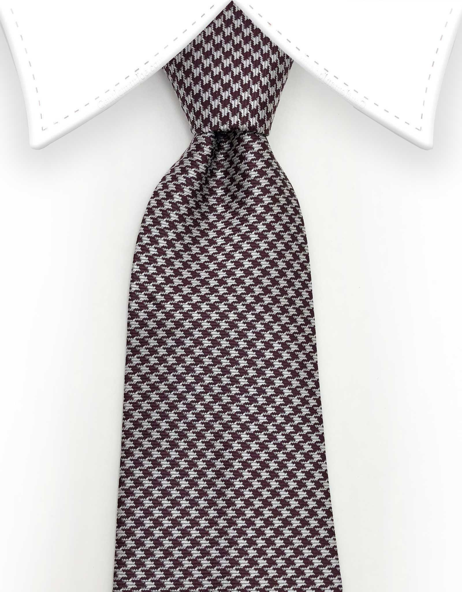 silver and brown houndstooth mens tie