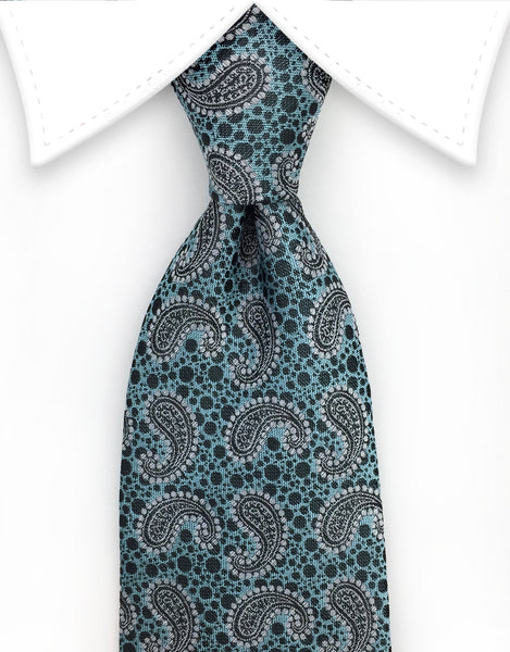 aqua and black paisley necktie