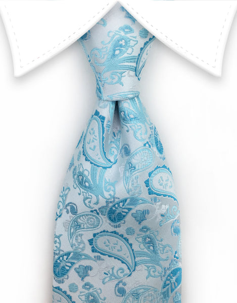 Light Silver Tie with Turquoise Paisleys