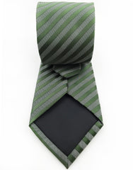 back view of green and charcoal striped tie