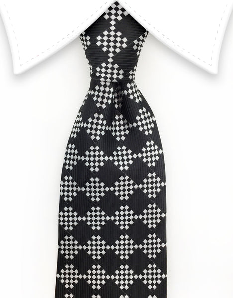 Black & Silver Diamond Necktie