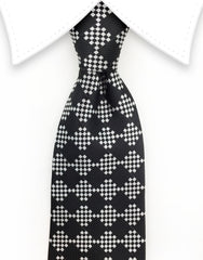 Black and Silver Diamond Necktie