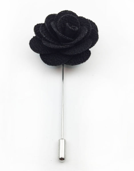 Black Flower Lapel Pins