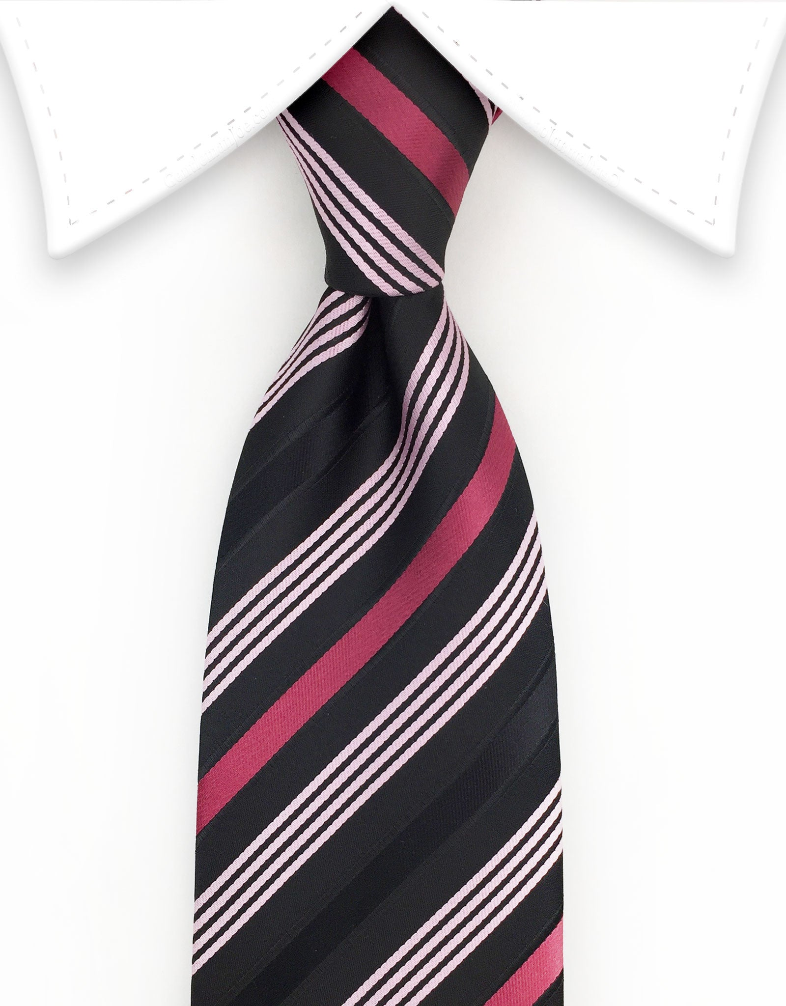 Black & Pink Striped Necktie