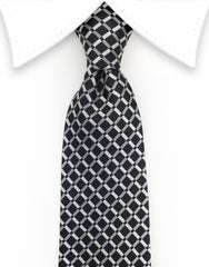 Black & Silver Crisscross Design Tie