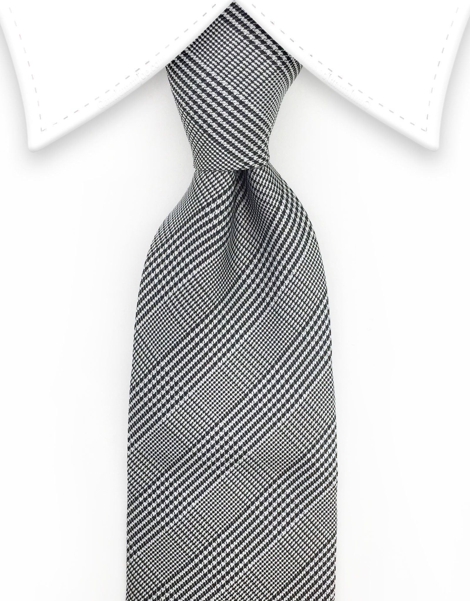 Black Gray Glen Check Tie