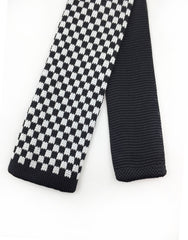 Black White Checkered Knit Tie