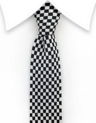 Black White Checkerboard Knit Tie