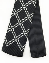 Black White Diamond Pattern Tie