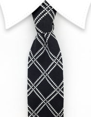 Black White Criss Cross Knit Tie