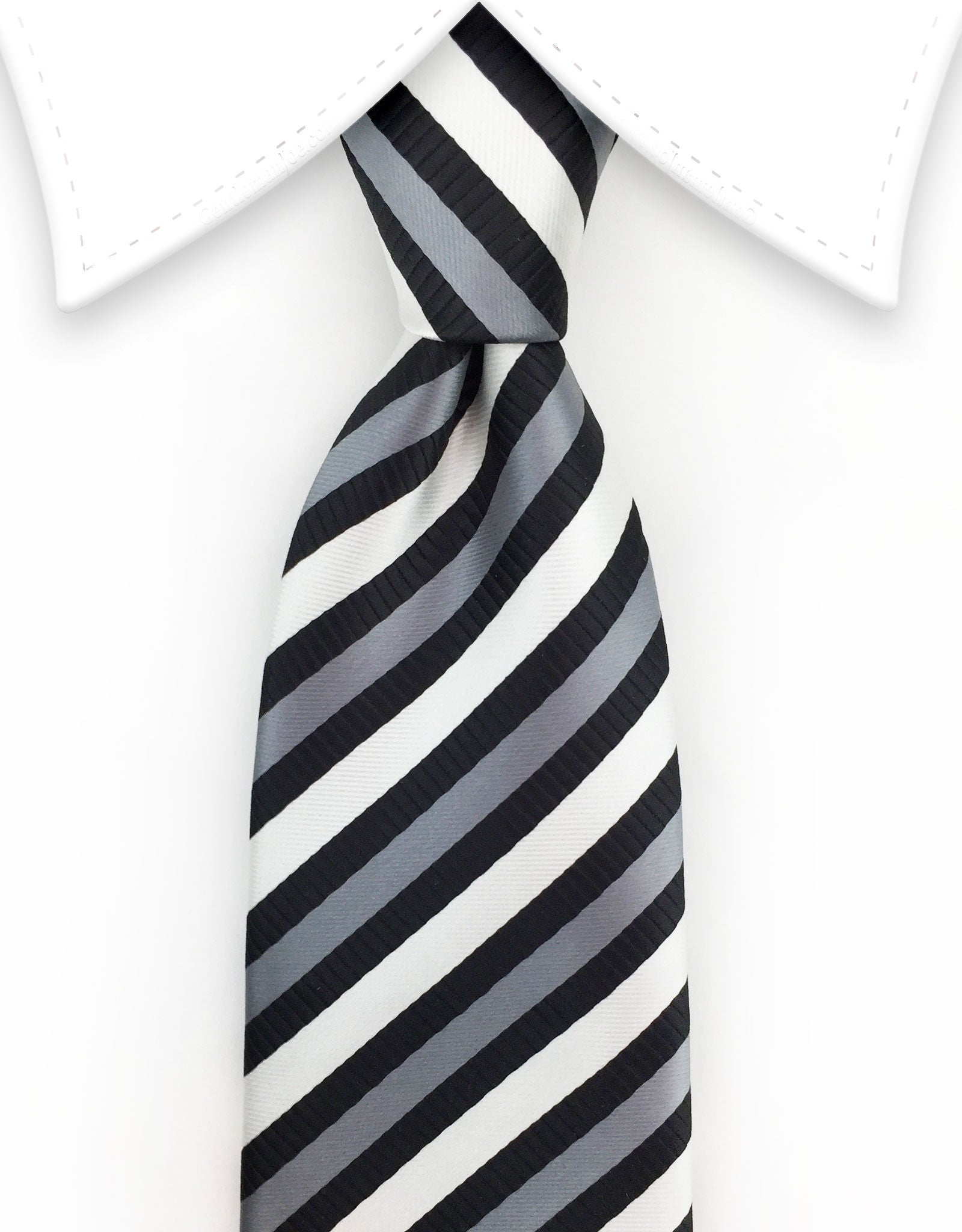 Black White Silver Striped Tie