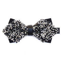Diamond Tip Black and Silver Crystal Wedding Bow Tie