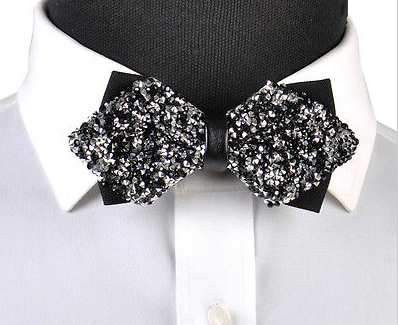 black and silver rhinestone bow tie