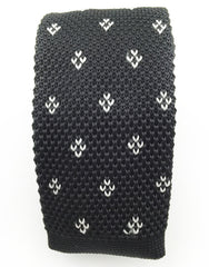Black and white knitted skinny tie