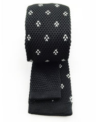 back view of black and white knit tie