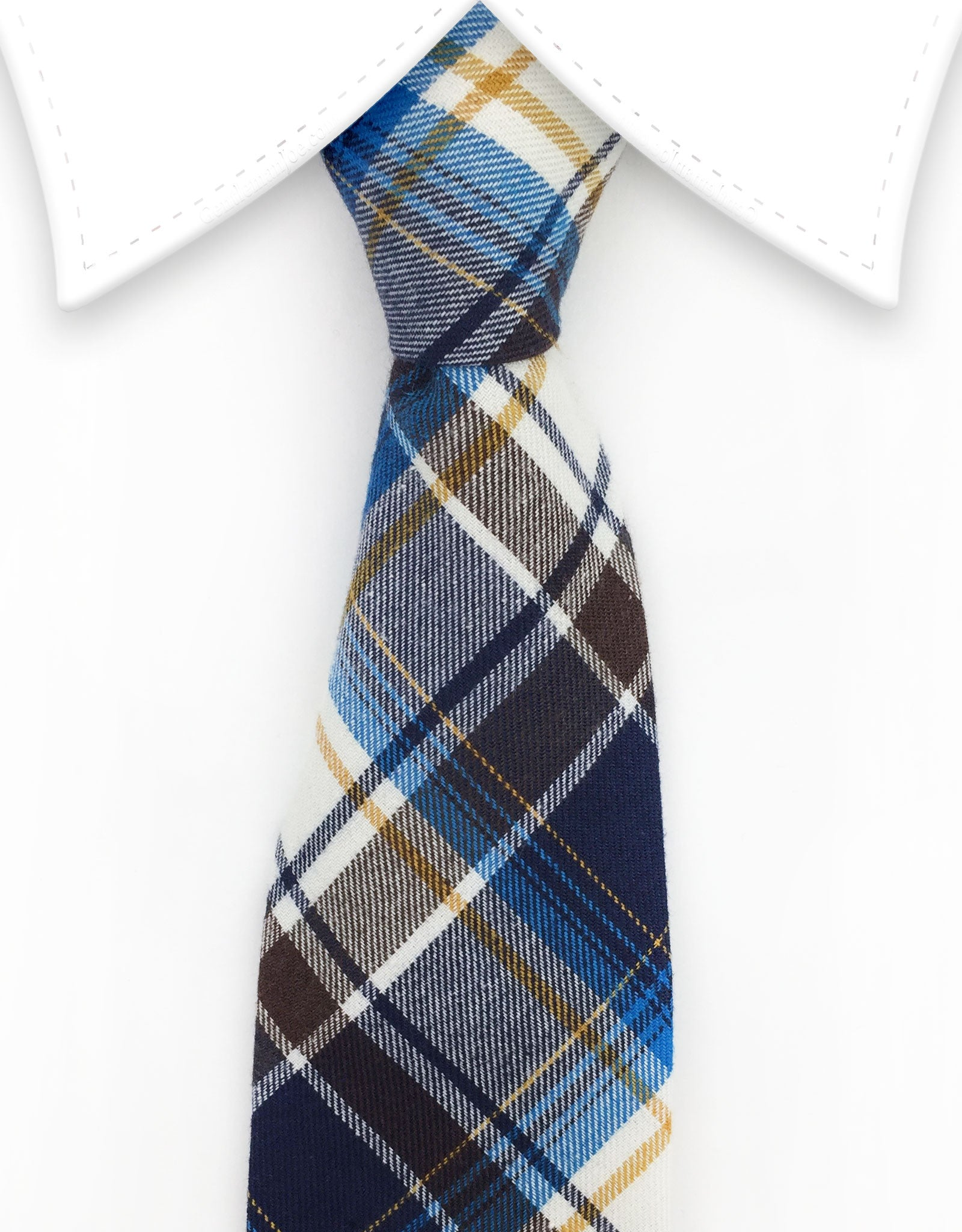 Brown, blue and cream plaid necktie