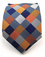 Orange, Blue, Silver Necktie