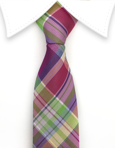 Boy's Purple Plaid Tie