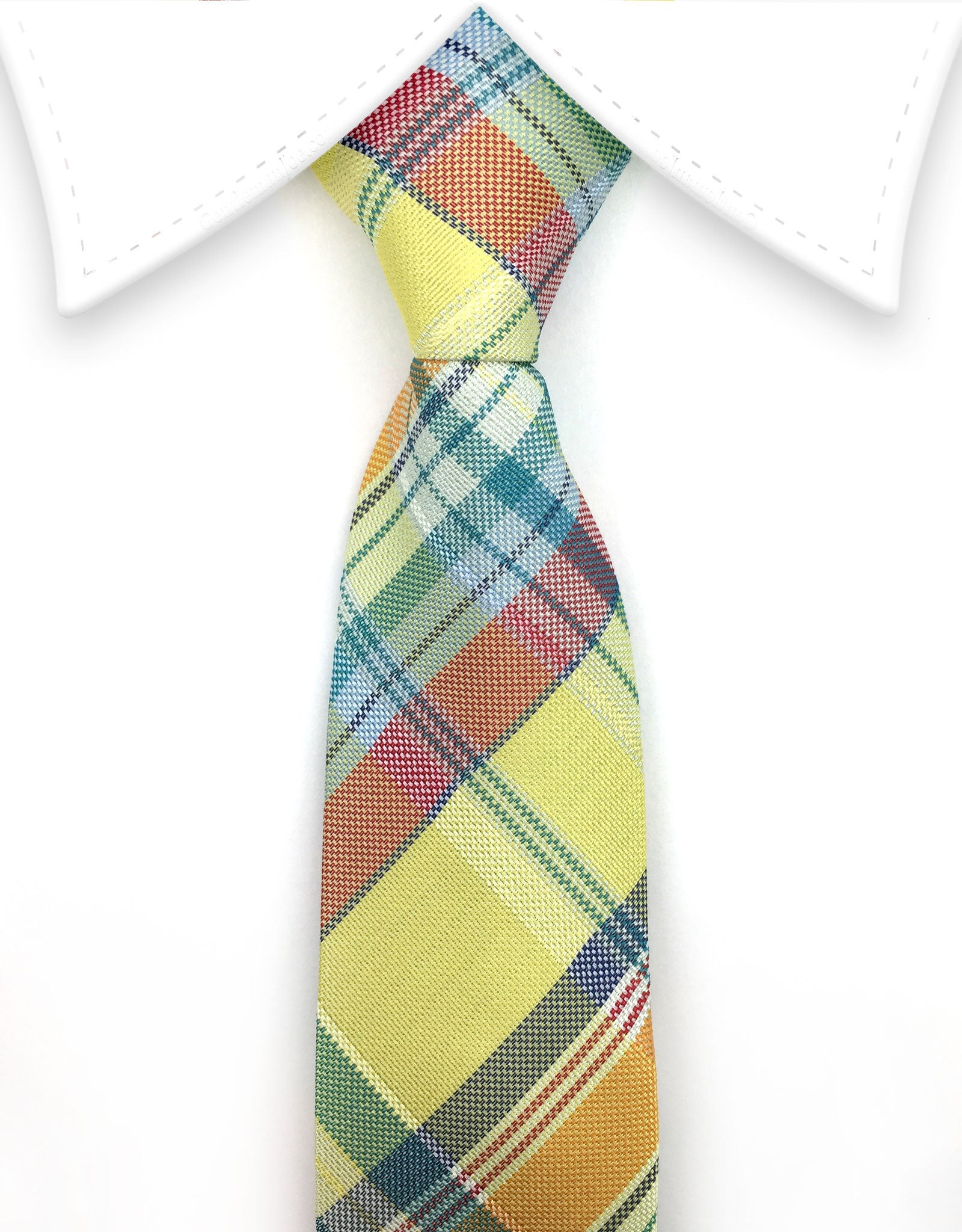 Yellow & Orange Boy's Plaid Necktie