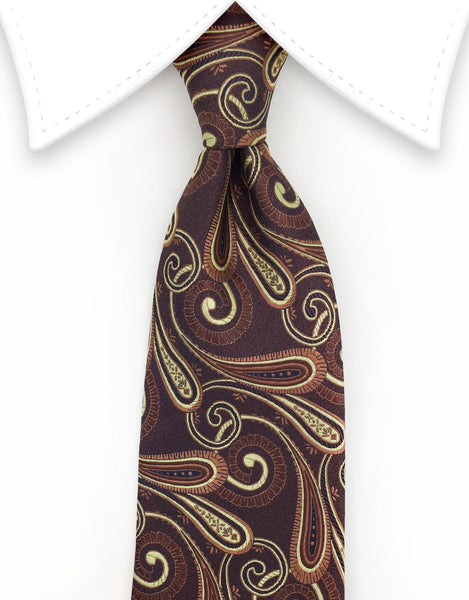 Chestnut brown paisley tie