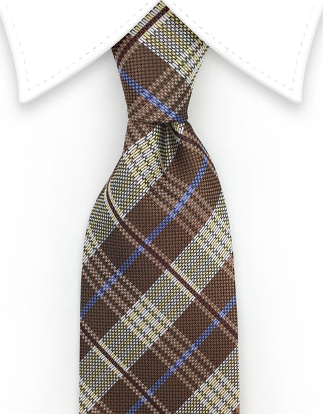 Brown & Blue Plaid Tie
