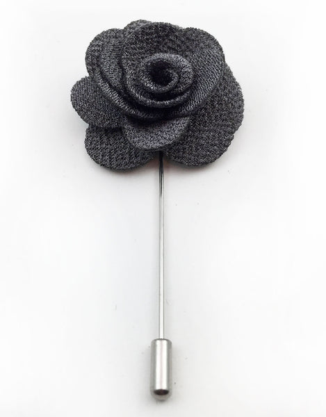 Charcoal Gray Lapel Flower