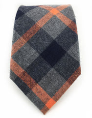 Gray, Black & Orange Cotton Tie