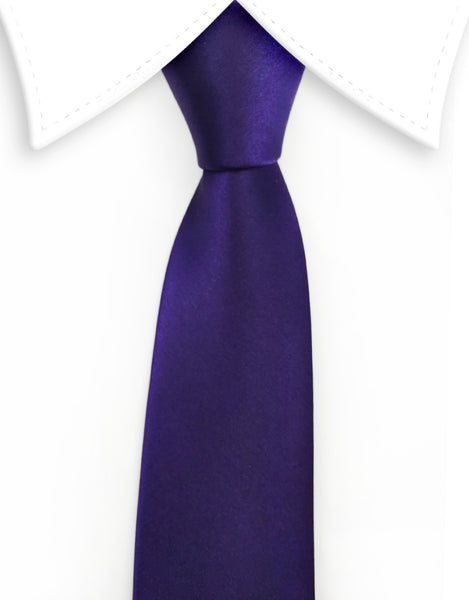 Dark Purple Violet Satin Skinny Tie
