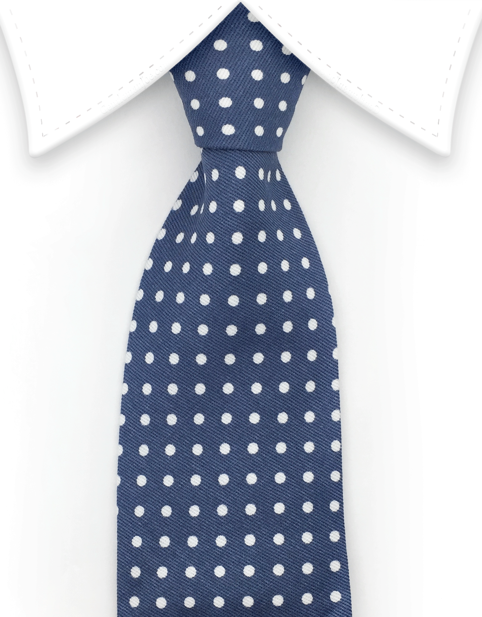 Denim Tie with white polka dots
