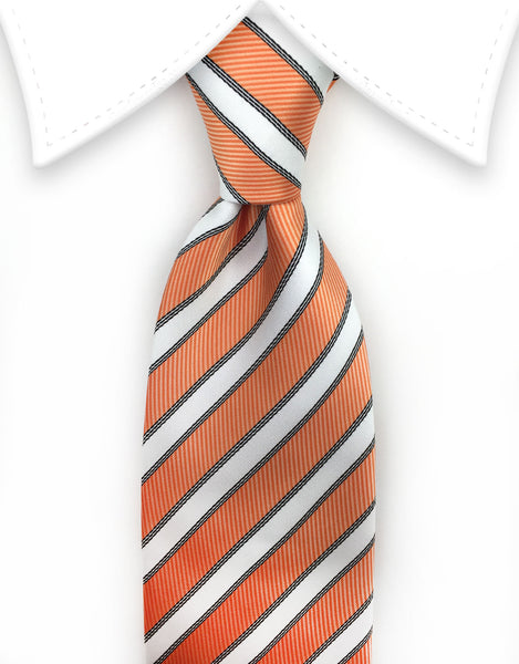 Orange and white striped long tie