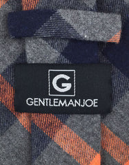 Gentleman Joe Charcoal Orange Plaid Cotton Tie