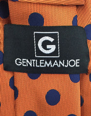 Gentleman Joe Orange Blue Polka Dot Tie