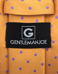 Gentleman Joe Orange Purple Polka Dot Necktie