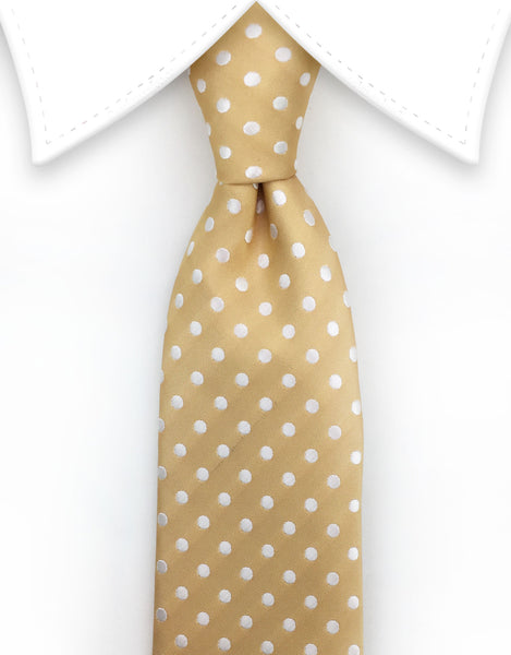 Gold Extra Long Tie with White Polka Dots