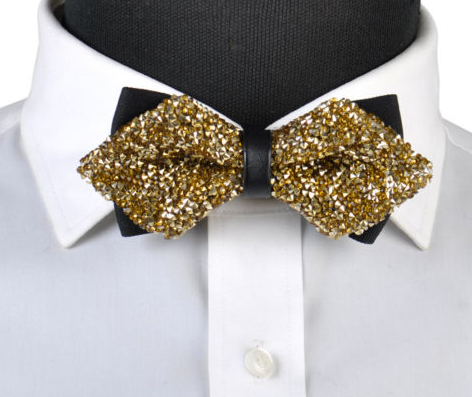 gold diamond tip bow tie