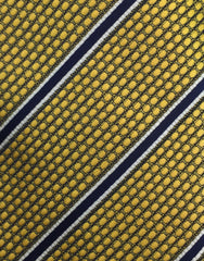gold & navy blue stripe necktie