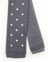 Gray knitted tie with white polka dots