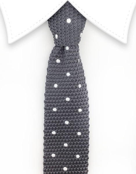 Gray Silver Knitted Tie
