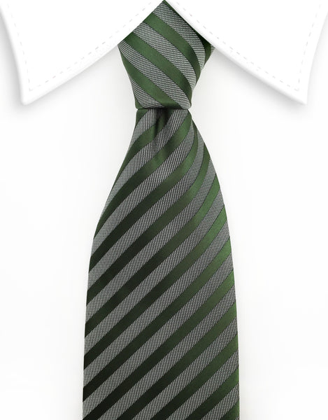 Green Gray Striped Tie