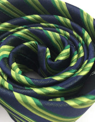 Green Striped Mens Tie Rolled Up