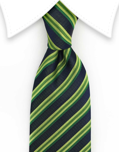 Green & Black Striped Mens Tie