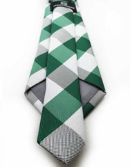 green white checkered tie back view