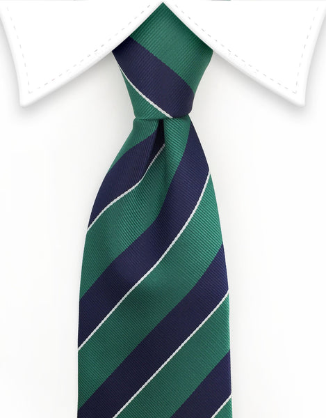dark green and navy blue collegiate tie