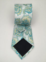 Teal & Pale Yellow Vintage Floral Necktie